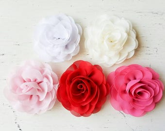 Ivory Chiffon Rose clip, red rose wedding hair clip, flower clips, Girl hair clip, accessory, Photo prop, Vintage flower clip, flower
