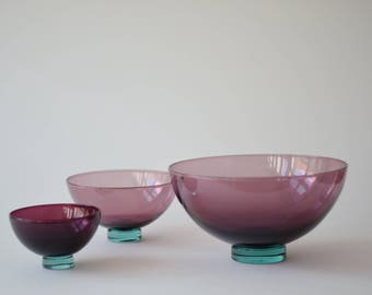 Set of 3! Vintage Holmegaard - HARLEKIN - 3 Bowls - Purple & Green - Anja Kjær - Danish mid century glass design