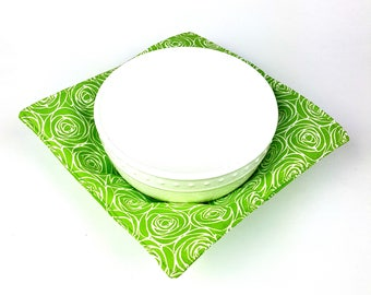 Green Roses and Paisley - MicroBowl Hot Pad (REVERSIBLE)