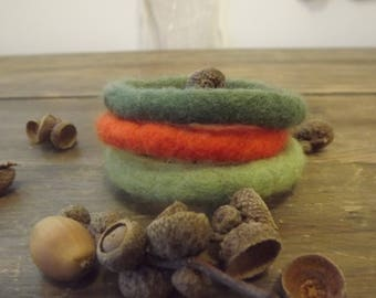 Set of Three Hand Felted Bangles in shades of 'autumn' inspired by falling leaves, made from natural wool - SALE