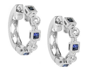 Blue Sapphire & Diamond Hoop Huggie Earrings 14k White Gold