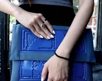 Vegan envelope clutch / tablet or ipad cover / standout clutch purse / blue embossed pvc / non leather bag / vegan & proud / MeDusa cares