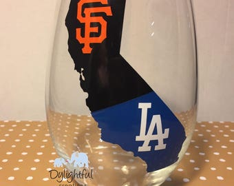 House divided wine glass San Fran giants and Los Angeles dodgers