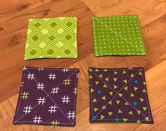 Quilted Coasters - set of 4 - purple and green - modern