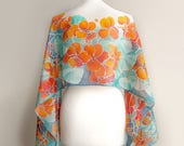 Silk scarf nasturtium - hand painted orange flowers - turquoise and teal scarf - summer floral pattern gardener gift - big wrap scarves
