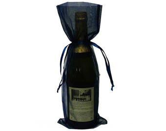 Navy Blue Bottle / Wine Organza Gift Bag