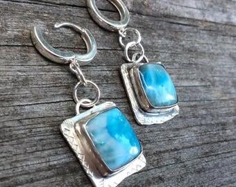 Larimar and Sterling Silver Earrings Stone Earrings Disc Dangle Earrings