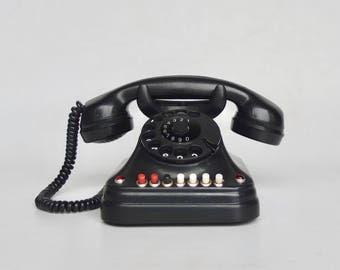 Rare Vintage Bakelite Rotary Telephone by Pupin,  40s Yugoslavia / Black