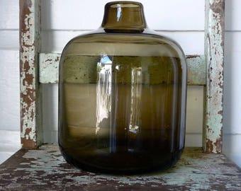Retro Scandinavia art glass smoke brown bottle vase decor