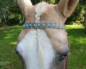 Turquoise Medallions Browband for Miniature Horse, Pony, Horse or Draft - Equine Tack Jewelry - Brow Band Equine Jewellry - Medieval horse