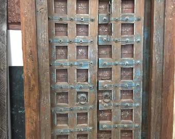 Antique Doors Floral Patina Vintage Indian Architecture Old Haveli Door, Conscious Eclectic Boho Shabby Chic Interiors 18c