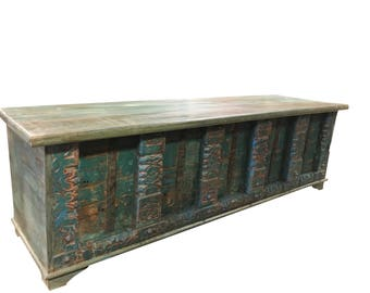 Vintage Trunk Blue Distressed Natural Wood Bench Table Iron latch chest Old Pitara Rustic FARMHOUSE Bohemian Interior CLEARANCE