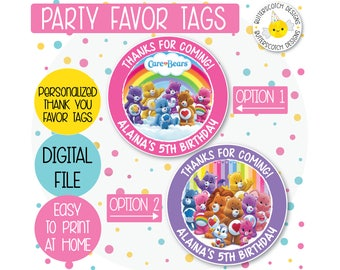 Care Bears Personalized Birthday Thank You Favor Tag or Sticker Label - Printable/Digital File