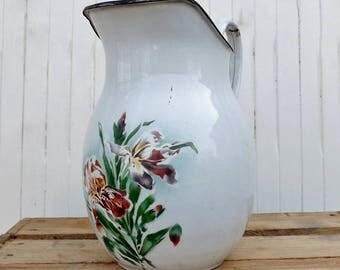 French enamel pitcher flower painted enamelware jug large French enamel pitcher kitchenalia garden flower holder French country home decor