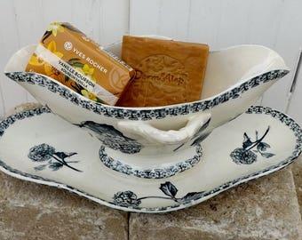 Antique sauce boat gravy boat Porcelaine de Gien Boule de Neige grey and cream transfer ware saucierre soap dish flower holder
