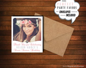 Birthday Photo Magnet with Gem Embellishment |  Personalized Party Favor > Envelopes Included > FREE SHIPPING