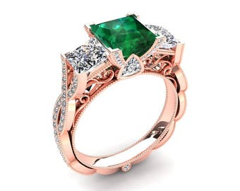 Princess Cut Emerald Ring 1.35 Carat Emerald And Moissanite Three Stone Ring In 14k or 18k Rose Gold CF22GR