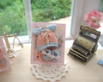 dollhouse baby doll clothes knitted top and shoes 12th scale miniature ooak