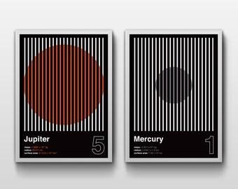 JUPITER & MERCURY (A3 Print Set, Graphic Poster, Space Poster, Geometric)