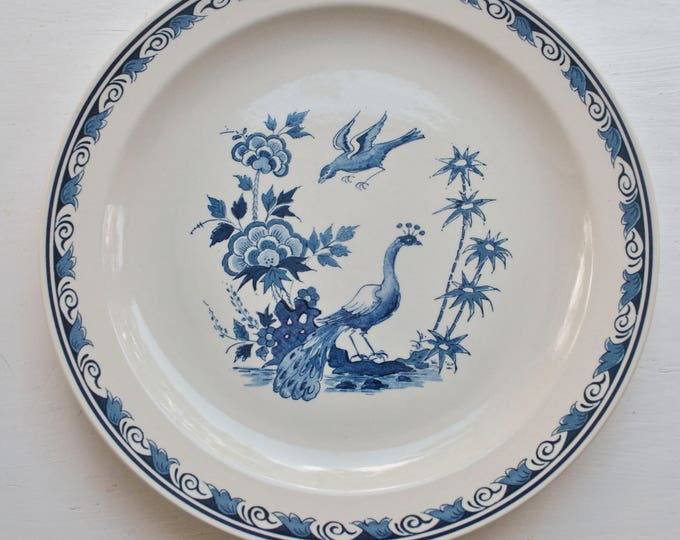 Vintage Delfts Royal Goedewaagen Blue Peacock Plate Museums Edition