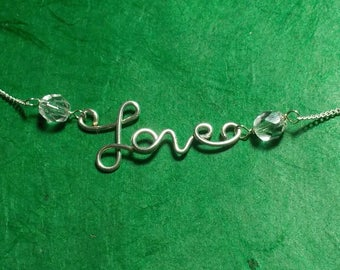 LOVE Clear Crystal Adjustable Necklace (A1)