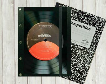Doors Journal Composition Book Cover, Vinyl Record Journal Cover, vinyl record art, record notebook, music lovers gift, music journal, J62G