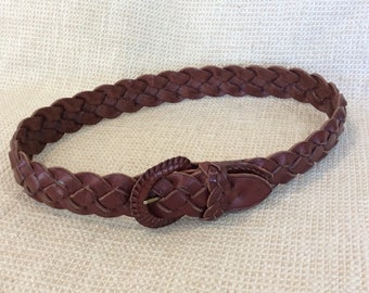 Genuine Polo Ralph Lauren vintage woven brown leather belt small 90s