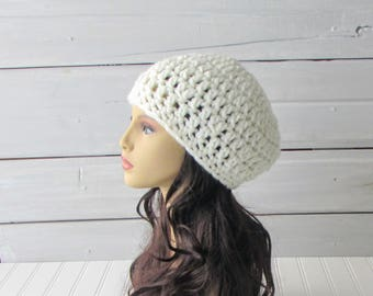 Hand Crocheted Off White Chunky Beret Ladies and Teen Warm Winter Hat