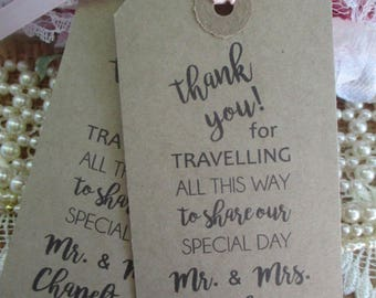 Thank You for Travelling To Share Our Special Day - Personalized Wedding Favors - Wedding Napkin Ties -Calligraphy Wedding Table Decor Tags