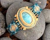 Mermaid bracelet macrame Larimar gemstone cuff wrist band. Summer beach wear for women. Surf jewelry for her. Island holiday gift