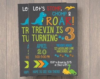 Boy Dinosaur Invitation, Boy Dinosaur Birthday Invitation, Boy Dinosaur Chalkboard Invitation, Dinosaur Invitation, Birthday Invitaiton