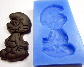 Moule silicone elfe bleu de Peyo, petit prix pour porcelaine froide, fimo, etc