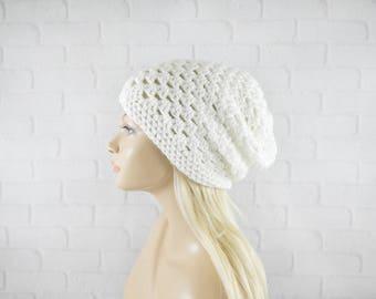 White Womens Hat, Large Beanie Hat, Slouchy Winter Hat, Vegan Beanie, Crochet White Hat, Granny Stitch Hat, Baggy Beanie Hat, Vegan Hat