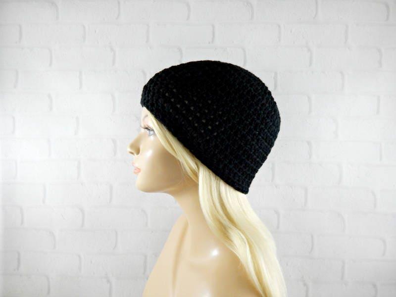 Black Crochet Beanie Beanie Skull Cap Crochet Skull Hat Crochet