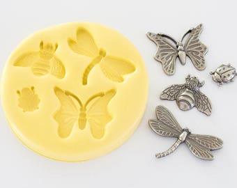 Insects Silicone Mold Includes Butterfly, Dragonfly, Bee and Lady Bug Cavities