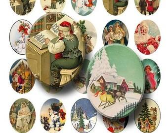 SALE- Vintage Christmas - Digital Collage Sheet   - 30x40mm Ovals  - INSTANT DOWNLOAD