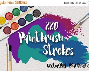 SALE- Paintbrush Strokes - Commercial Use Vector Clipart - 220 Images in PNG and EPS format - also includes Photoshop Brushes