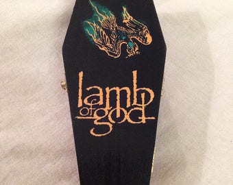 Lamb of God - Wood Coffin Keepsake Trinket Smoke Stash Box - Ashes of the Wake - band