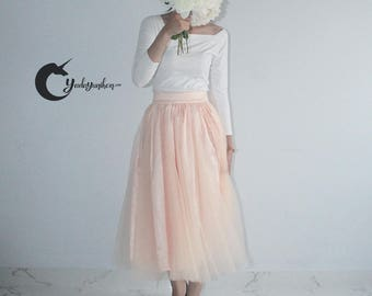 Nude Pink Tutu Skirt- Soft Tulle Skirt- Adult Tutu