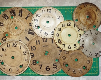RESERVED FOR CRAIG   8 Vintage Clock Faces
