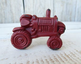 Red Tractor Knob - Cabinet Drawer Pull - Farmhouse Farm Farming Country Home Decor