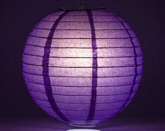 9pcs Purple Paper Lanterns and LED Bulbs for Wedding Engagement Anniversary Birthday Party Hanging Table Centrepiece Lighting Decorations