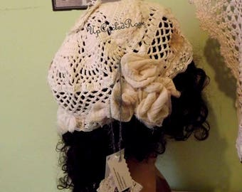 Shabby Couture Slumber Cap Up-cycled Crochet Tattered Roses FREE Shipping in USA Ready to ShipToday