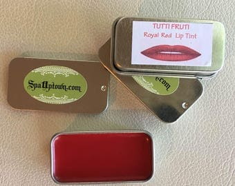 Tutti Fruity - Royal RED- Organic LIP TINT- Handmade , All Natural, By Spa Uptown- In Tin- 10g