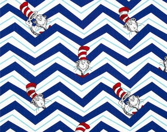 Dr Seuss By-the-HALF-yard CAT in the HAT Blue Chevron Zig Zag stripe print 100% cotton Quilt Fabric Robert Kaufman