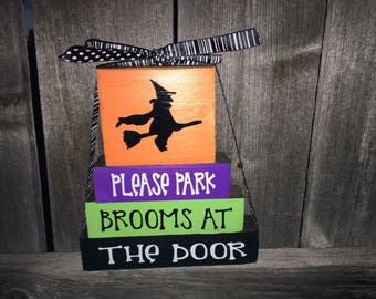 Halloween Mini blocks--Please park brooms at the back door, witch blocks, witch broom, Halloween blocks