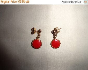 50% OFF Unique metal Red earrings 1 inch length