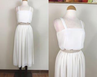 Vintage 1970s Dress / Ethereal / Chiffon / semi sheer / Cream Sheath dress / Grecian