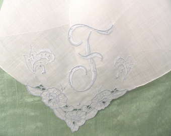 Monogram F embroidered handkerchief / blue and white hankie / initial F letter F