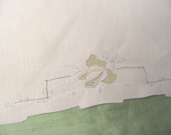 White linen guest hand towel / vintage blue and yellow floral towel